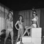 """3.5.1969 - Benger Ribana shows the 1969 swim suit collection in Amsterdam Hilton. From left to right the following swim suit models """"Escapade"""", the Bermuda """"Pia-Petra"""" and the bikini """"Natalie""""."""