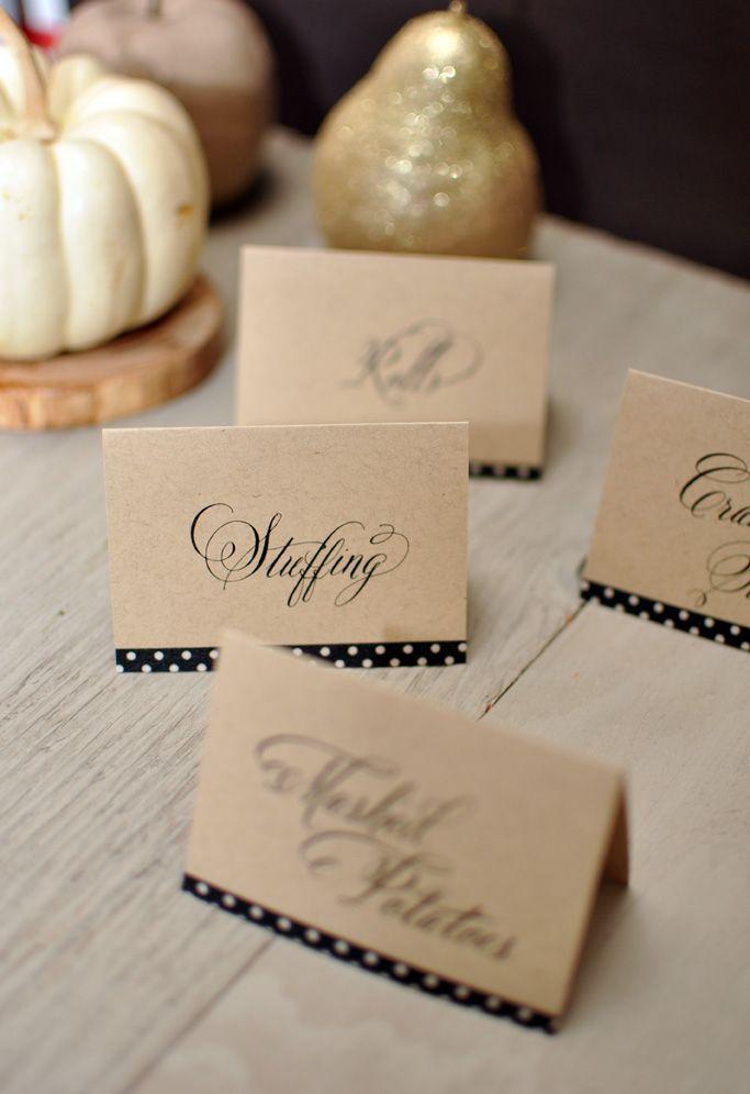 Use washi tape to embellish these free printable Thanksgiving food labels!