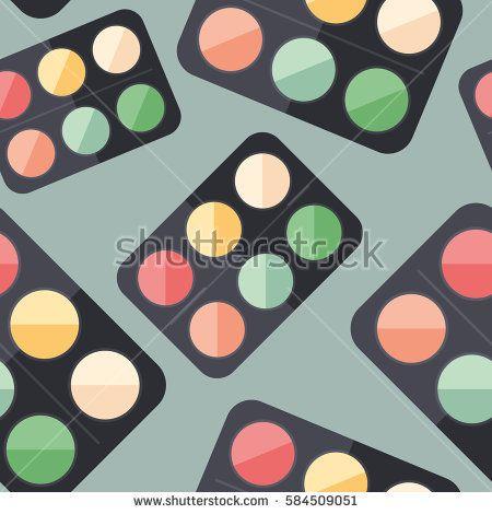 Eye shadows flat icon seamless pattern. #beautypattern #vectorpattern #patterndesign #seamlesspattern