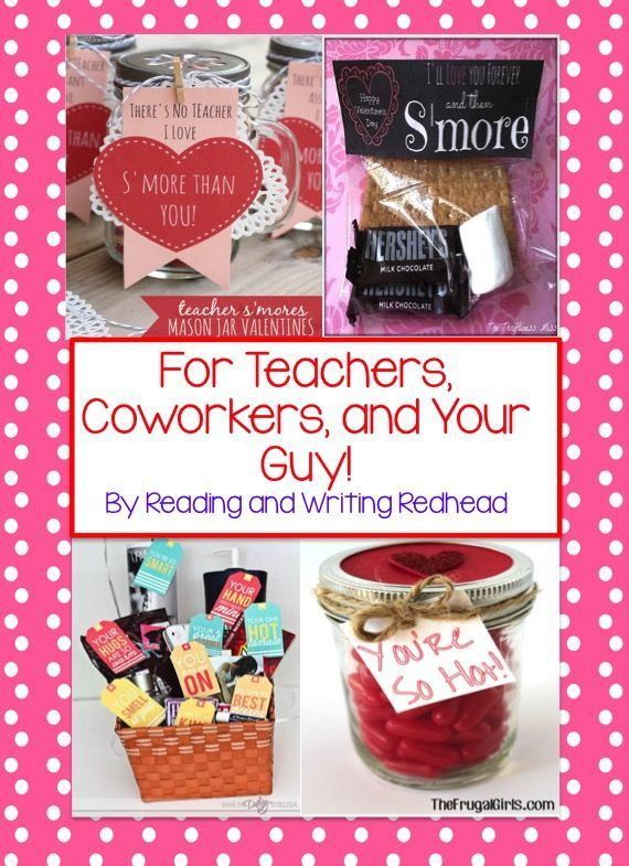 Fun Valentine ideas for your fellow teachers, your kids' teachers, your guy, valentines for your class, Valentine's themed books and more! For more like this check out my blog at www.readingandwritingredhead.com and sign up for my monthly newsletter for a freebie: http://eepurl.com/DFyuj .
