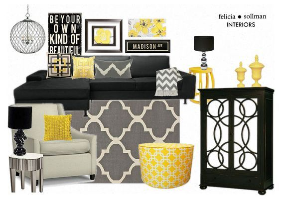 Using the popular color palette of yellow gray and black - Black white yellow living room ideas ...