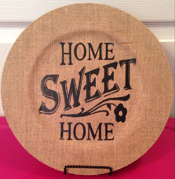Decorative burlap charger plate by HaleysCraftCottage on Etsy