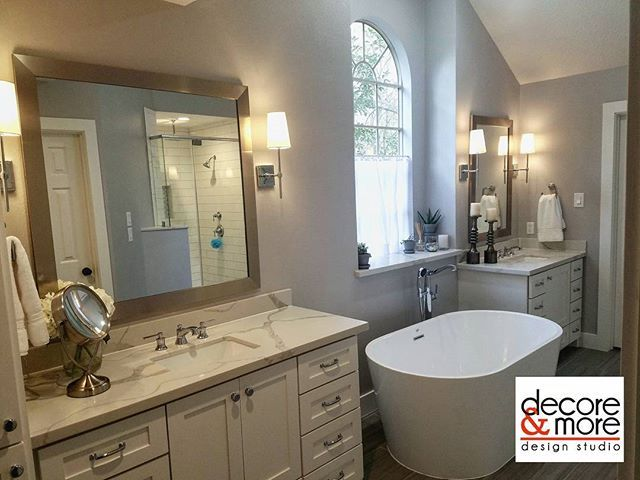#Masterbathroom transformation!  white #calacatta #quartz #countertop  Portland (by Mirabelle) water fixtures  in #chrome and a #gorgeous #Celeste #freestandingtub.  #interiorism #elegance #luxuryhouse #designmatters #iamadesigner #interiordesigner #interiordesign #ilovemyjob #designboutique #photoshoot #designlove #homestyler #homestyle #instagood #instagood #bathroom #instahome #Thewoodlands #Magnolia #htown #realtor #renovationproject #localrealtors - posted by Decore &More Design…