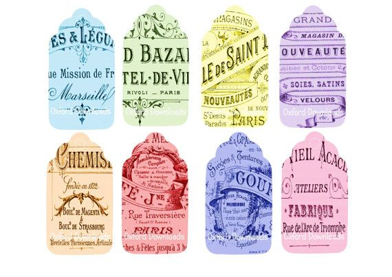 Antique French Printable Gift Tags French by OxfordDownloads