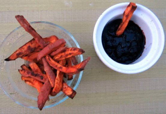 Ambitious Kitchen | Spicy Sweet Potato Fries with Blueberry Ketchup