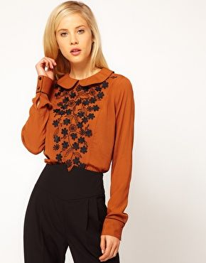 ASOS Blouse With Contrast Floral Applique