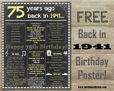 Back in 1941, Happy 75th Birthday, 75th Birthday decor www.mishmashbyash.com