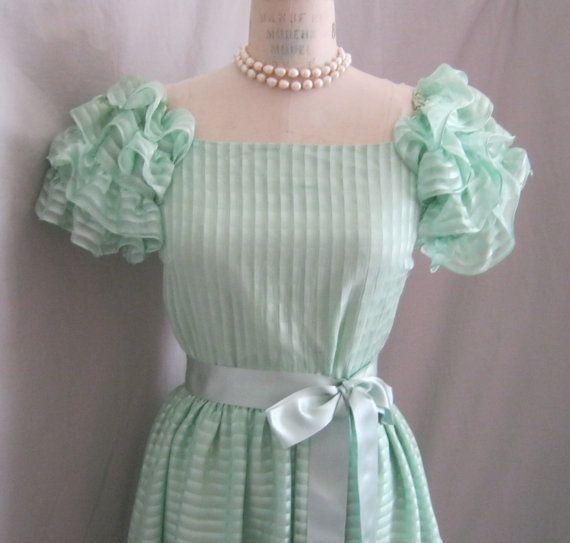 "MINT! Vintage 80s Silk Chiffon Shadow Stripe DRESS with RUFFLED Sleeves Hem Detail Summer Wedding Bridesmaid Cocktail Garden Party Bust: 35""..."