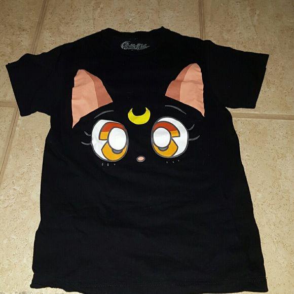 Sailor moon luna t-shirt Black sailor Moon Luna cat tee shirt !  Super cute size XS - cat crecent moon. sailor moon Tops Tees - Short Sleeve