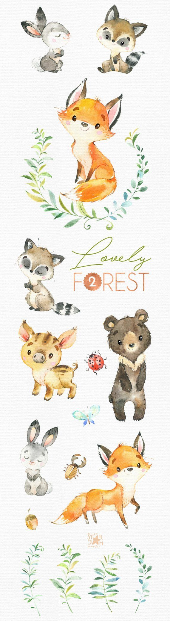 Lovely Forest 2. Little animals clip art, watercolor, fox, wild pig, bear, rabbit, raccoon, floral, wreaths, babyshower, woodland