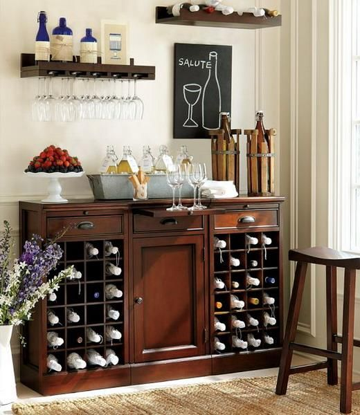 30 Beautiful Home Bar Designs, Furniture and Decorating Ideas * I like the two wall shelves. The wine one and the wine glass holder one.*