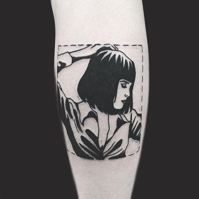 Pulp Fiction tattoo by Matt Cooley. #MattCooley #blackwork #pulpfiction