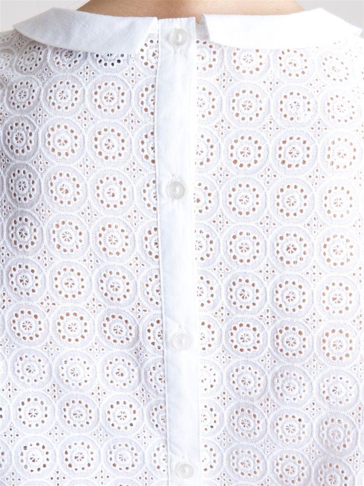 Dos de tunique en broderie anglaise, col Claudine pointu en voile de coton | Cyrillus