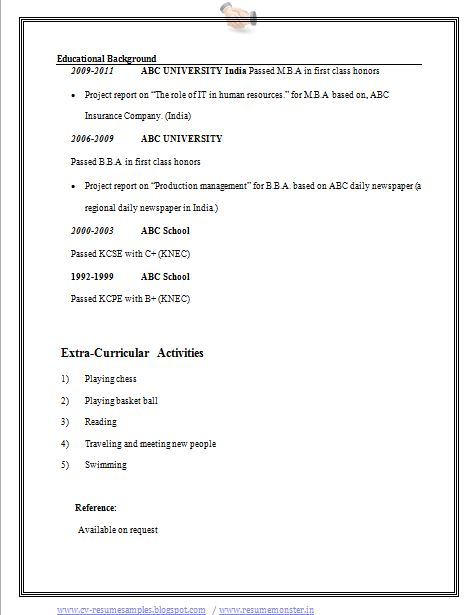 Bba Resume Example Page 2 With Images Abc School