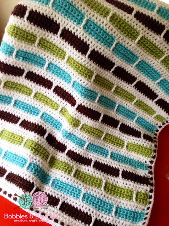 Crochet Afghan Patterns Stripes : Crochet Stripes Baby Afghan / Blanket Made by ...