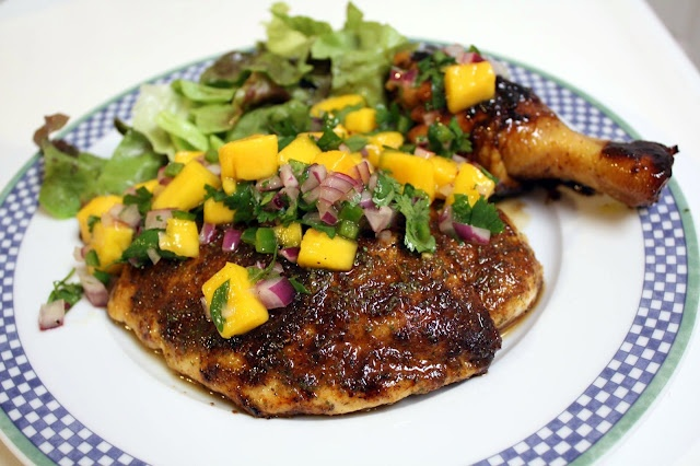 Jerk Chicken with Mango Cilantro Salsa | Recipe | Cilantro Salsa ...