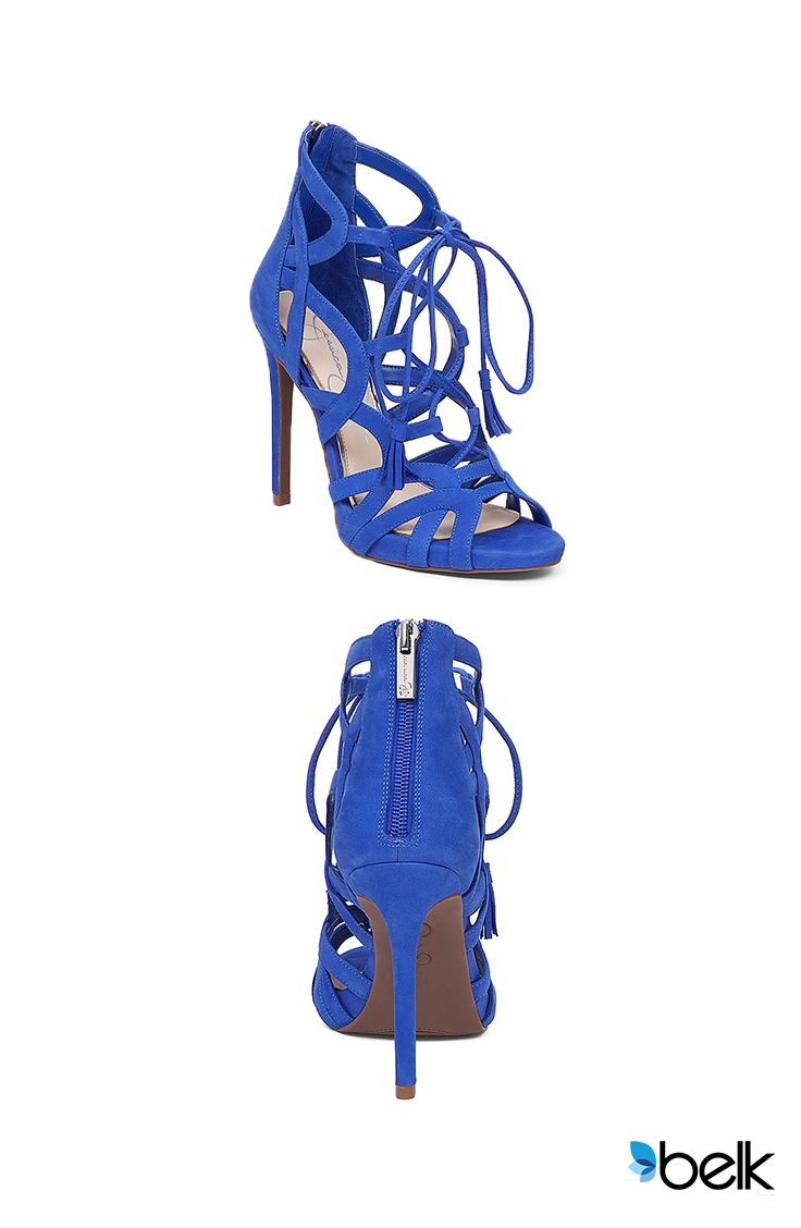 The gladiator sandal trend is hot, and fierce in these strappy lace-ups by Jessica Simpson. They're super-chic for summer nights, whether you pair them with figure-flattering jeans and a super cute blazer or style them with your favorite little black dress and minimalist accessories. They come in a variety of colors from blue, black, pink, buff, and brown when you shop now at Belk.com.