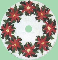 Poinsettia Tree Skirt 34 Round Kit Comes Complete With Stamped 33 Mesh Latch Hook