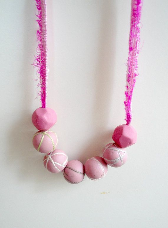 Minimal Pink Polymer Clay Necklace. Modern Chic by NarimCrafts