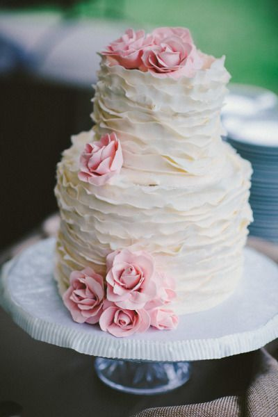 Ruffled cake | Style me pretty  Need to try black rustic ruffles on a 2 tiered cake