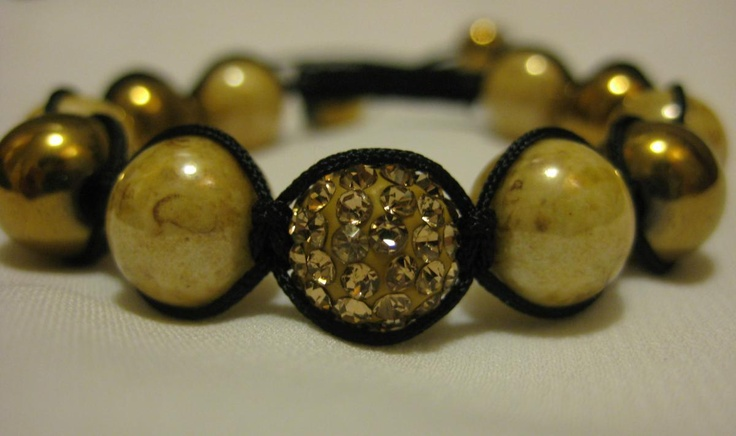 Champagne Crystal Pave Bead and Gold Haematite and
