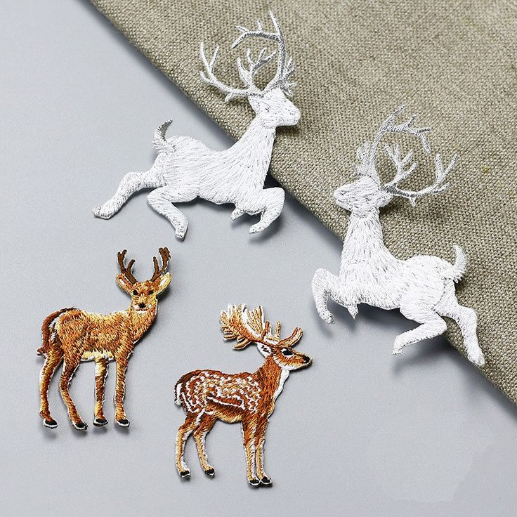 deer 4pcs/set applique patches for clothing fabric patch sewing iron on fashion parches bordados embroidered patches #Affiliate