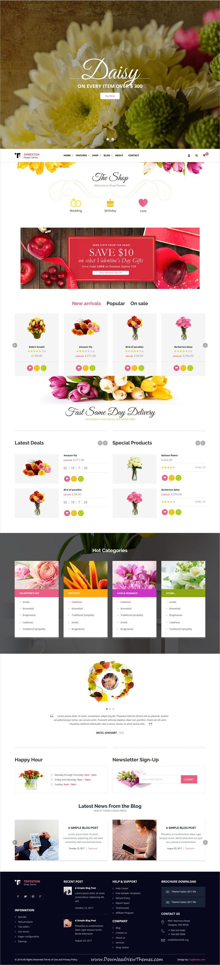 Ambesten is clean, stylish and modern design responsive WooCommerce WordPress #Theme for stunning #flower #florist #shop eCommerce #website with 14 niche homepage layouts to live preview & download click on Visit