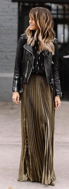 #winter #fashion / Black Leather Jacket / Green Pleated Maxi Skirt