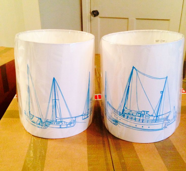 "8"" lampshades with Falmouth boats."