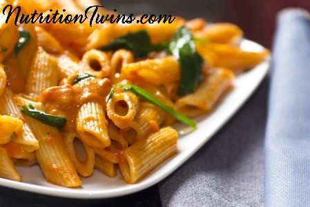 Spicy Tomato and Creamy Spinach Pasta   Only 185 Calories   Rich, Creamy & Satiating   Quick, Easy & Healthy   For MORE RECIPES, Fitness & Nutrition Tips please SIGN UP for our FREE NEWSLETTER www.NutritionTwin...