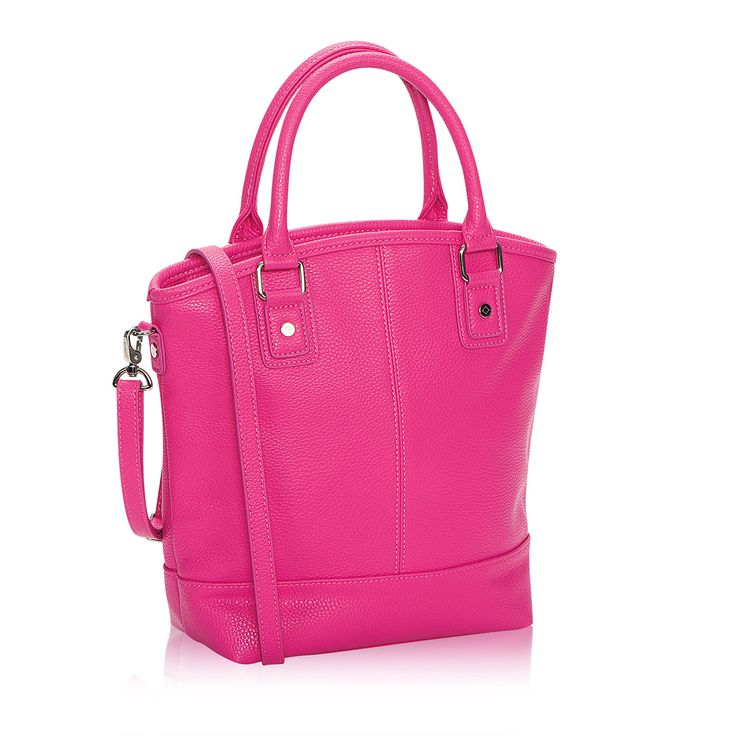Paris in Candy Pink Pebble for $78 - Perfect for a night on the town or a day at the office, our Paris handbag includes plenty of space for a small tablet. It also includes a matching Skinny Strap that converts the bag from crossbody to shoulder bag. For added fun, you can change out your strap color to switch up your look, and customize the interior by adding a Triple Slit Pocket.  Several gorgeous colors available! www.DianaLeff.com