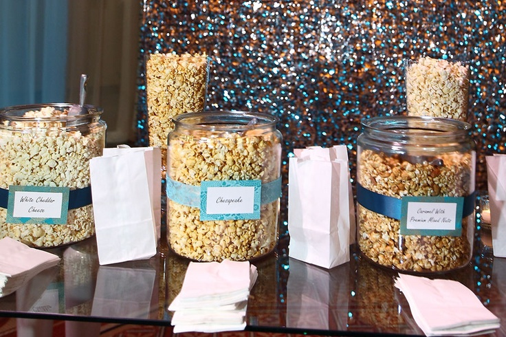 Popcorn Station where guests can fill a bag with the signature flavors: Statement Stations, Bag, Food Stations, Popcorn Stations, Wedding Station, Sweet Events