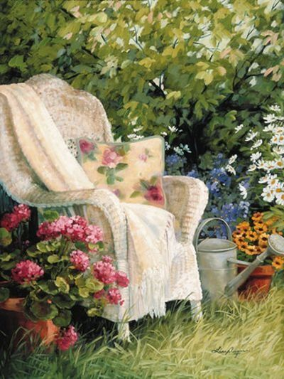 Wicker chairs are popular in the garden.