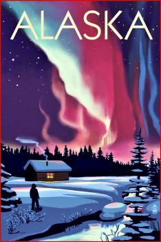Alaska Aurora Borealis Travel Poster (96 pieces)