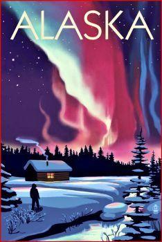 Alaska Aurora Borealis Travel Poster (96 pieces)