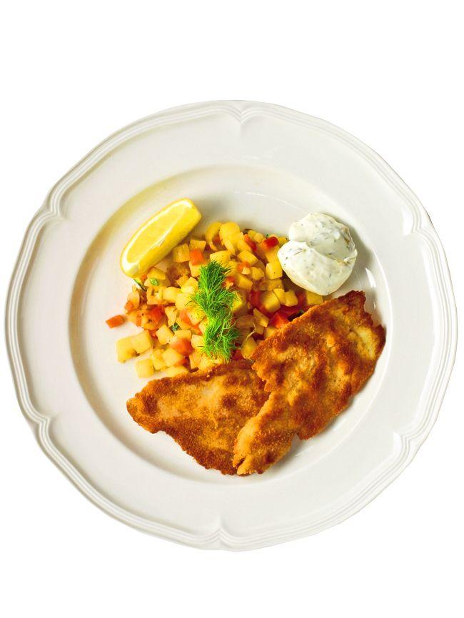 Spätta lagad på engelskt vis, enligt det klassiska franska köket. Den är marinerad, panerad och stekt. Serveras ofta med kokt potatis och remouladsås.