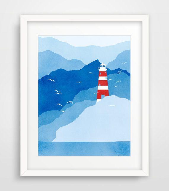 Lighthouse Art Print, Beach Decor, Nautical Nursery Decor, Coastal Decor - Navy Blue