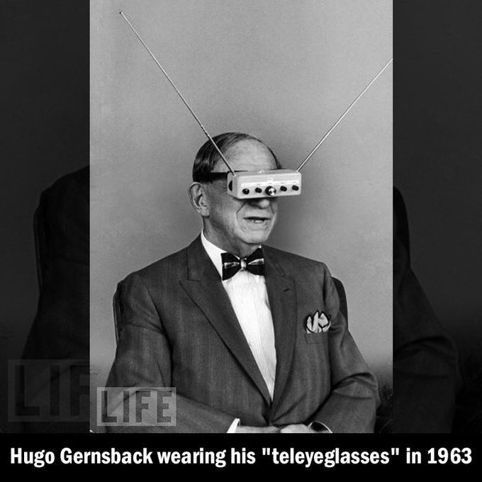 "Inventor of the electric hair brush and the handheld illuminated mirror, Gernsback made his ""teleyeglasses"" a reality in order to keep up with the new electronics era. They were similar to today's 3D VR glasses. [Reddit/interestingasfuck]"