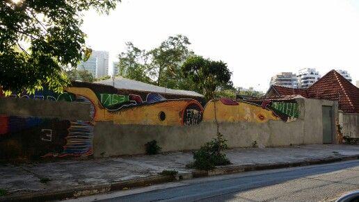 ● Brazilian graffiti artist • TRECO in Rua Tupi - bairro de Higienópolis , São Paulo city Since 2014 this graffiti, that was partially destroyed when this foto was taken, doesn't exist anymore