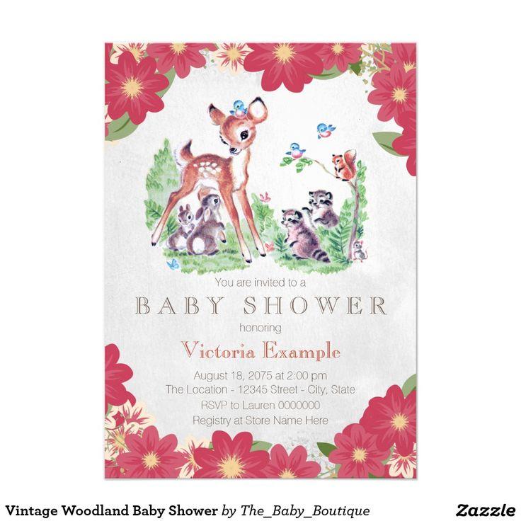 vintage woodland baby shower card