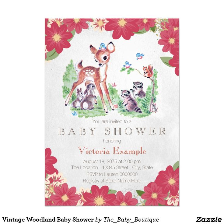 Vintage Woodland Baby Shower Card- This one is so cute for a little girl baby shower in the spring or summer.  Retro baby animals image surrounded by pretty pink flowers.