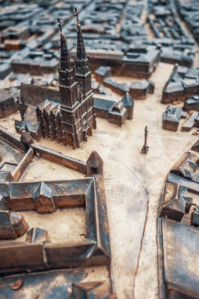 3d Bronze Map Map Of The City In The Center Of Zagreb Camera Focused On Zagreb Cathedral Old Building Royalty Free Pictures Bronze