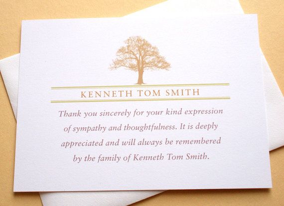 funeral thank you notes with a strong tree