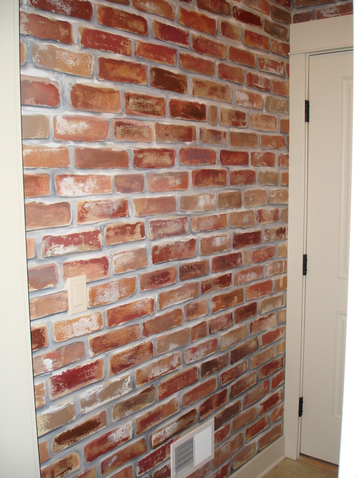Painted Faux Brick Wall To Give My Mud Room A Little Character. I Love How