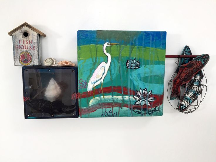 """Ateleir de Joie Great Egret -fishing hole"""" Mixed media on wood panel and found objects $450 Egrets with their graceful and precise fishing approach is a sight to behold.  The purpose of this mixed media approach was to give a sense of place, we can see Egrets anywhere there is water even in cities."""
