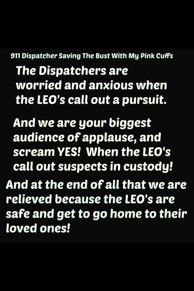 Yes. Pursuits are so stressful for everyone, and a dispatcher is always relieved when they have a happy ending