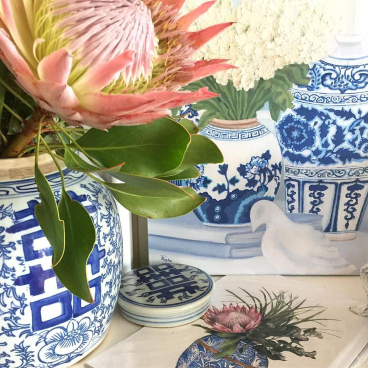 Art by Phoebe Williams. Original oil painting. Blue and white chinoiserie. Blue and white ginger jar with flowers. Flower painting.