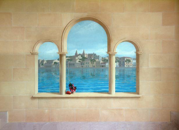 trompe l | Trompe l'oeil window and seascape, 2006. Acrylic on primed plaster ...