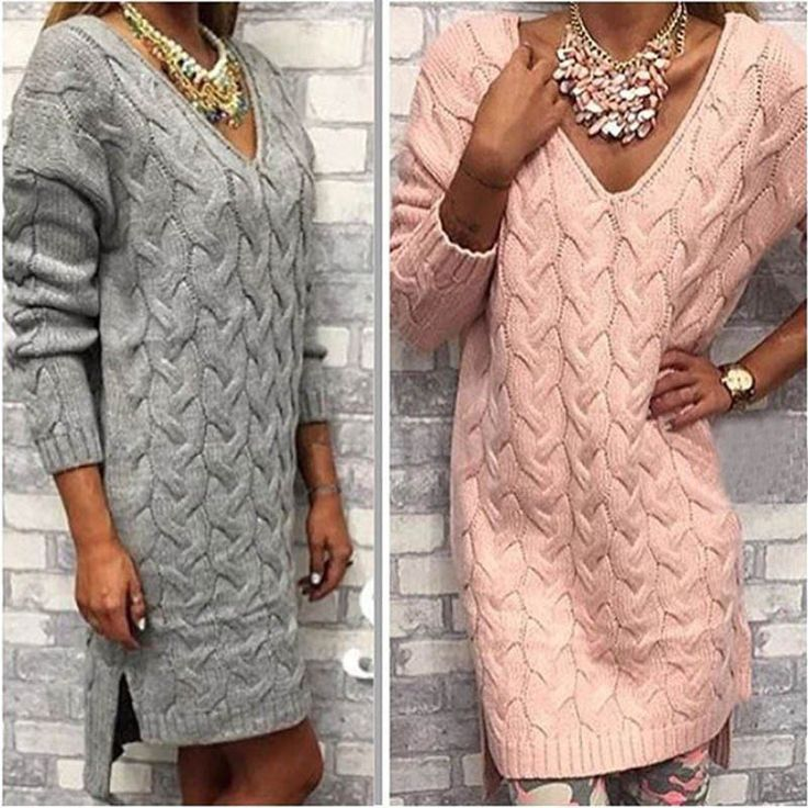 New Arrival - Casual V-Neck Loose Crochet Knitted Pullover Sweater Dress