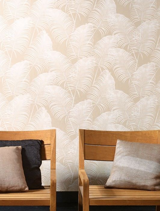 €73,90 Precio por rollo (por m2 €13,86), Papel pintado floral, Material base: Papel pintado TNT, Superficie: Liso, Aspecto: Mate, Diseño: Hojas de palma, Color base: Beige grisáceo, Color del patrón: Crema brillante, Características: Buena resistencia a la luz, Difícilmente inflamable, Fácil de desprender en seco, Encolar la pared, Resistente al lavado